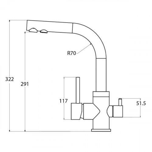 Трёхпозиционный кран-смеситель AquaSanita Akvaduo 2663-220 Серый (Argent)
