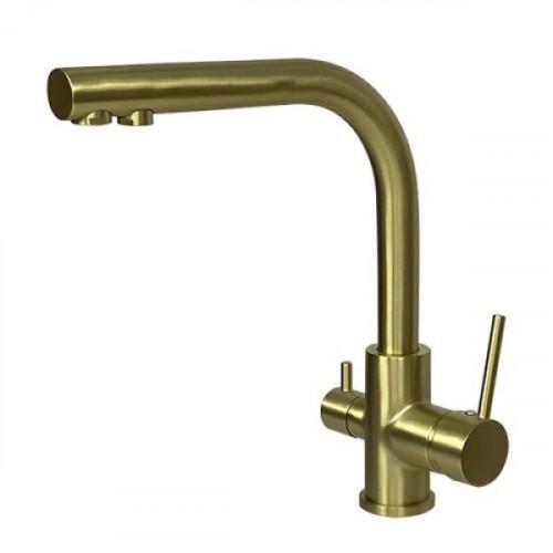 Трёхпозиционный кран-смеситель AquaSanita Akvaduo 2663 L G Gold