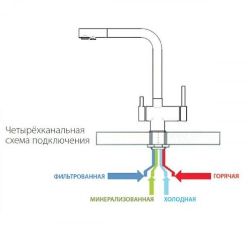 Комбинированный смеситель 4в1 Fabiano FKM 31.40 SS INOX для фильтра с минерализатором