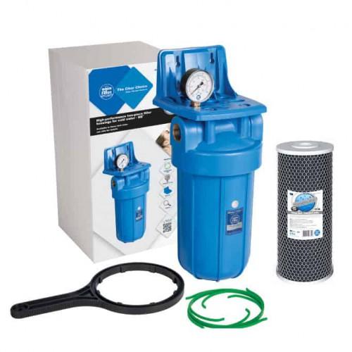 Фильтр типа Big Blue 10 Aquafilter FH10B1-B-WB в сборе с манометром и угольным картриджем