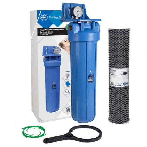 Фильтр типа Big Blue 20 Aquafilter FH20B1-B-WB в сборе с манометром и угольным картриджем