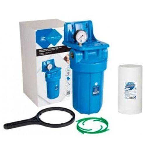 Фильтр типа Big Blue 10 Aquafilter FH10B1-B-WB в сборе с манометром и механическим картриджем