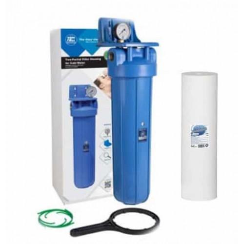 Фильтр типа Big Blue 20 Aquafilter FH20B1-B-WB в сборе с манометром и механическим картриджем