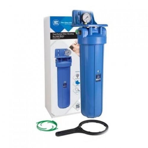 Фильтр типа Big Blue 20 Aquafilter FH20B1-B-WB  без картриджа, с манометром