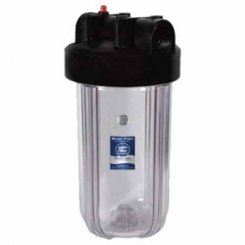 Прозрачный корпус фильтра типа Big Blue 10 Aquafilter FHBC10BB1/WF10BB1-CL без ключа и пластины
