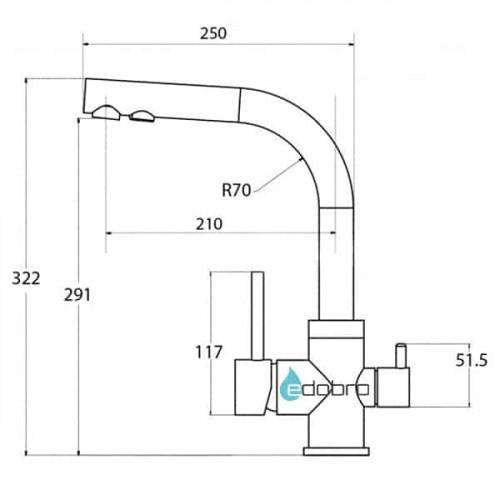 Трёхпозиционный кран-смеситель AquaSanita Akvaduo 2663-202 Серый (Alumetalic)