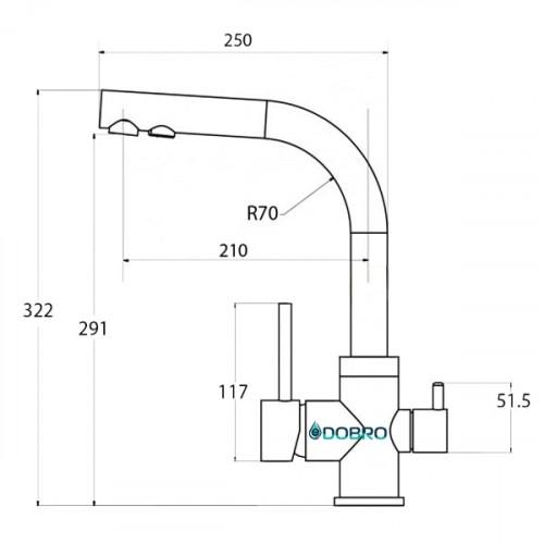 Трёхпозиционный кран-смеситель AquaSanita Akvaduo 2663-002 Матовый (Satin)