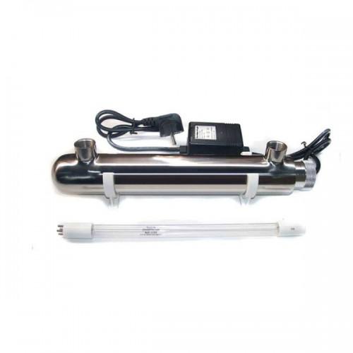 УФ обеззараживатель UV 0,5 GPM (0,1м3/час) 6w, стальной корпус